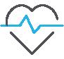 Ícone de um coração em ecocardiograma.